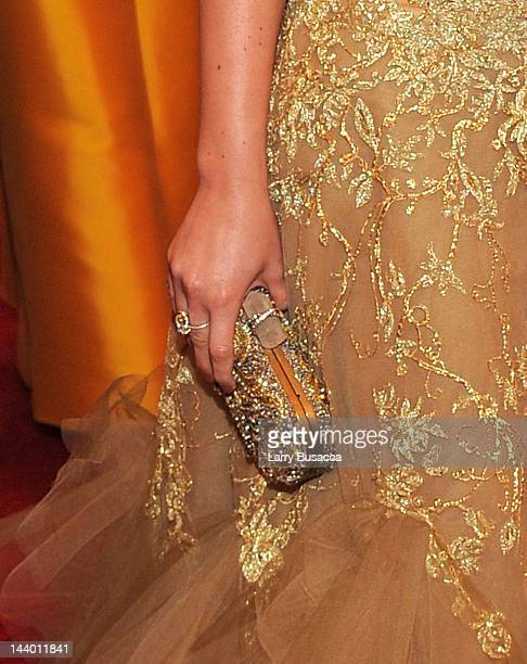 Closeup view of Leighton Meester's clutch at the 'Schiaparelli And Prada Impossible Conversations' Costume Institute Gala at the Metropolitan Museum...