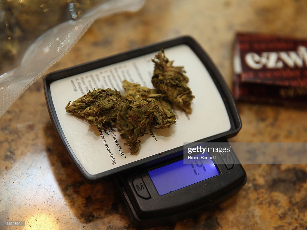 A closeup view of marijuana on a scale as photographed on August 30, 2014 in Bethpage, New York.