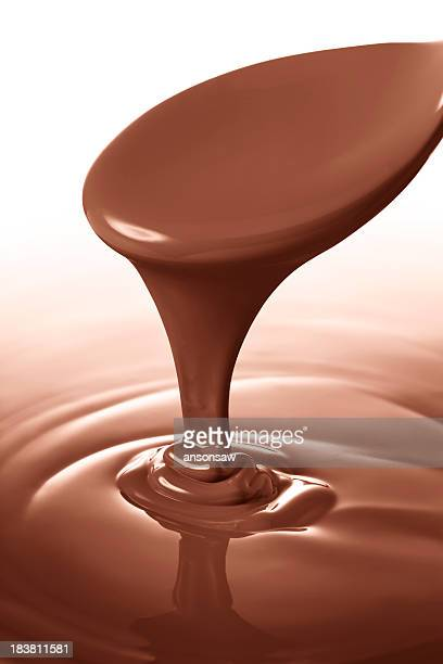 Closeup view of melted chocolate with spoon