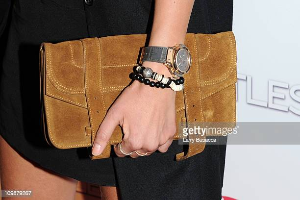 A closeup view of model Veronica Varekova's purse at Relativity Media's world premiere of 'Limitless' presented by DeLeon Tequila at Regal Union...