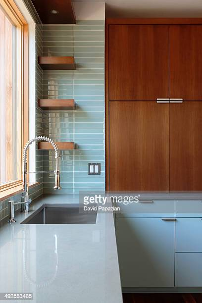 Close-up view of modern residential kitchen