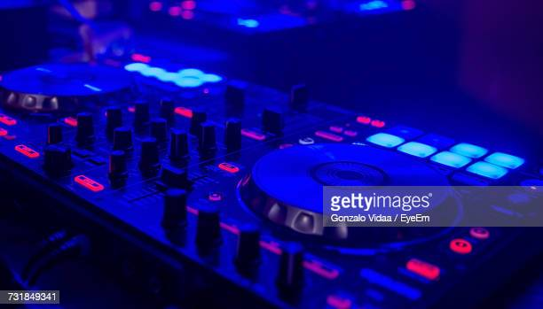 close-up view of music equipment - club dj stock pictures, royalty-free photos & images