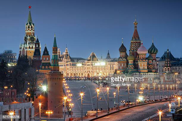 close-up view of night kremlin - red square stock pictures, royalty-free photos & images