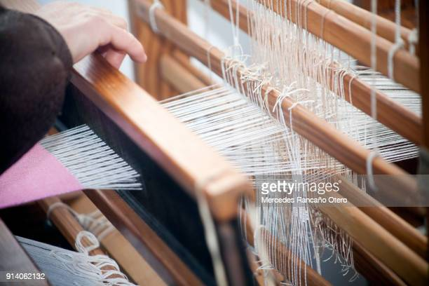 close-up view of old traditional loom. - loom stock pictures, royalty-free photos & images
