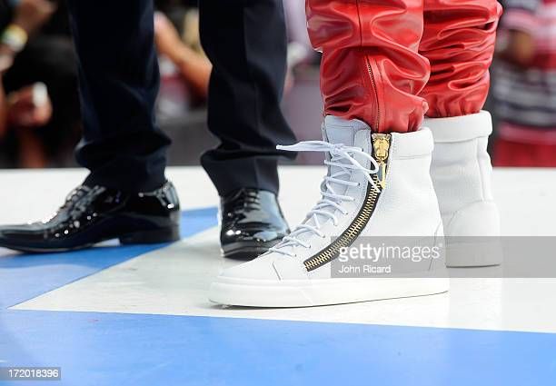 Closeup view of rappers Bow Wow's and Ace Hood's shoes at 106 Park Stage PreShow during the BET Awards at Nokia Theatre LA Live on June 30 2013 in...