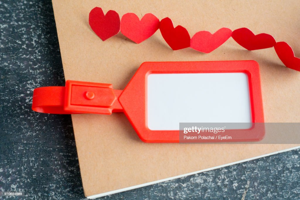 Closeup View Of Red Heart Shape Decoration And Label On Clip Board