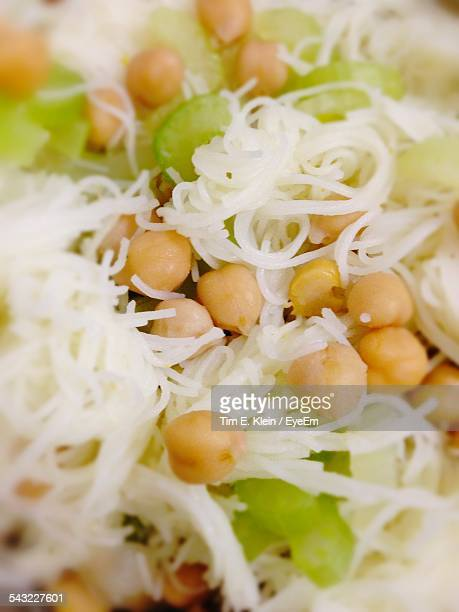 Close-Up View Of Salad With Pasta, Chickpeas And Green Pepper