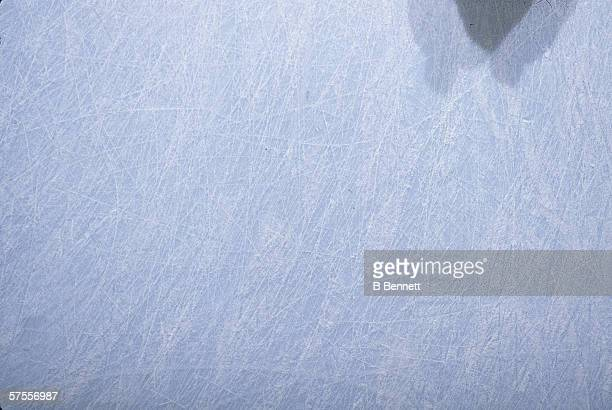 Closeup view of scratched ice on a hockey rink February 1989
