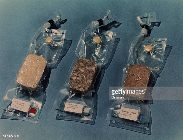 Closeup view of some of the space food which is scheduled to be carried on the Apollo 11 Lunar Landing mission Included here are chicken and...