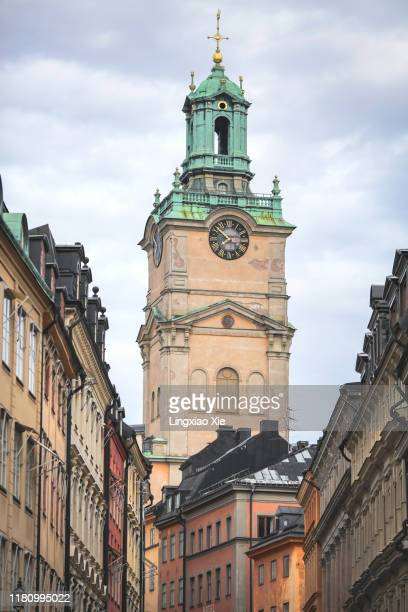 close-up view of stockholm cathedral (storkyrkan) in gamla stan, the old town in central stockholm, sweden - stockholm cathedral stock pictures, royalty-free photos & images