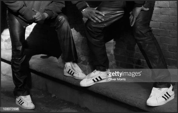 Closeup view of the Adidas sneakers worn by Run DMC's Joseph Run Simmons and Darryl DMC McDaniels New York early 1980s
