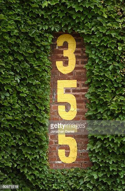 Closeup view of the distance number and ivy covered leftfield wall at Wrigley Field on June 15, 2004 in Chicago, Illinois.