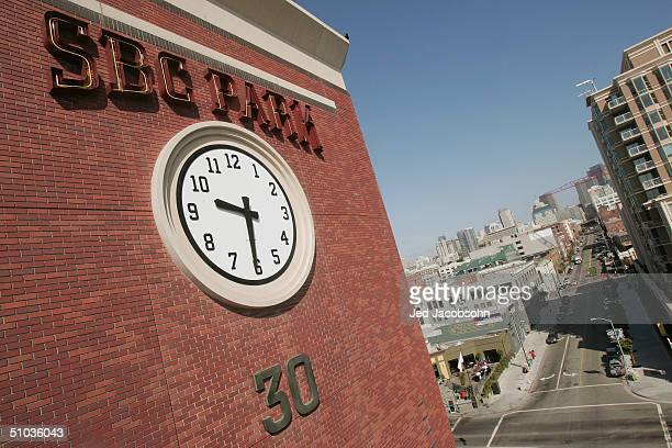 Close-up view of the exterior wall above the 2nd street gate entrance to SBC Park, home of the San Francisco Giants before the MLB game against the...