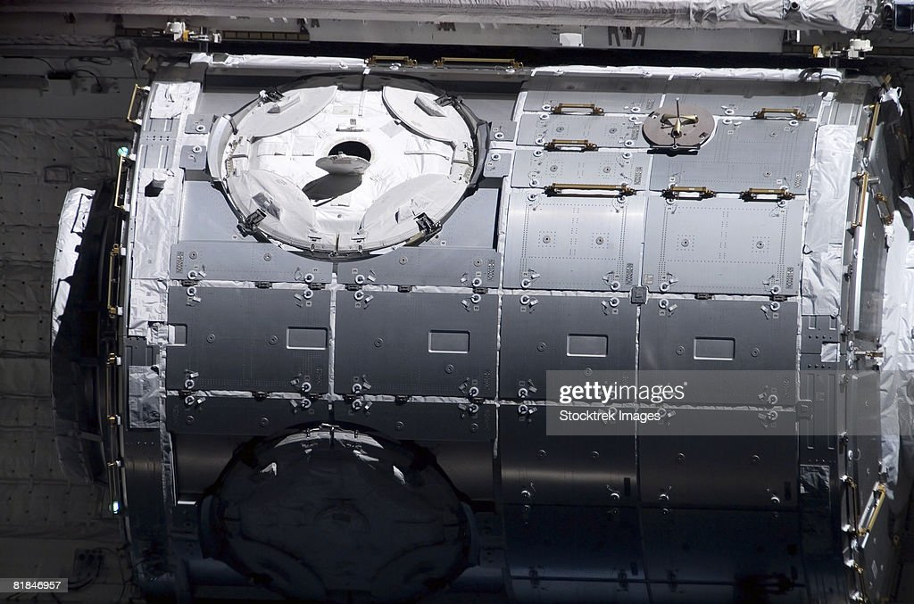 A close-up view of the Harmony node in the payload bay of Space Shuttle Discovery. : Stock Photo