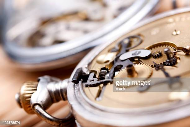 Closeup view of the inside of a pocketwatch