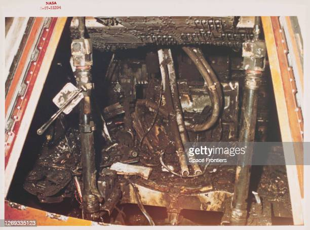 Close-up view of the interior of the Apollo 1 Command Module at Pad 34 showing the effects of the intense heat of the cabin fire which killed the...