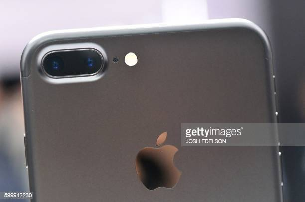 A closeup view of the iPhone 7 Plus' dual cameras during an Apple media event at Bill Graham Civic Auditorium in San Francisco California on...