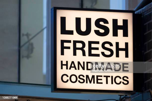 Close-up view of the Lush sign at the Lush store in Cardiff on December 30, 2018 in Cardiff, United Kingdom.