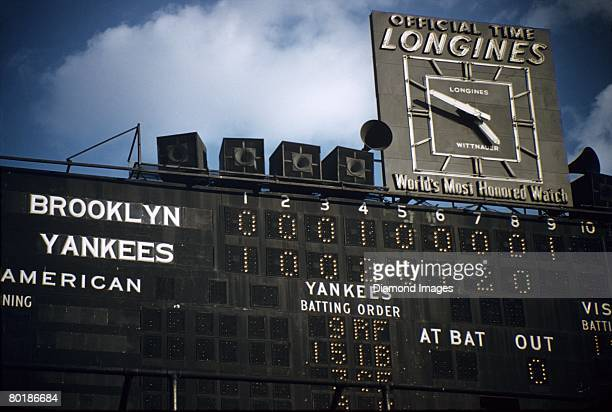 A closeup view of the main scoreboard after game four of the World Series on October 7 1956 between the Brooklyn Dodgers and the New York Yankees at...