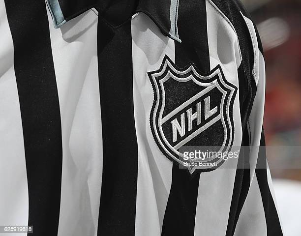 A closeup view of the NHL logo on a referees uniform during the game between the New Jersey Devils and the Detroit Red Wings at the Prudential Center...
