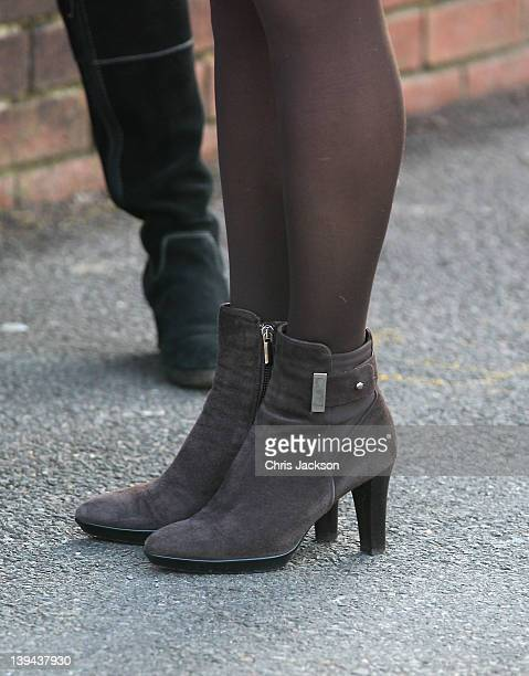 A closeup view of the shoes worn by Catherine Duchess of Cambridge as she arrives at Rose Hill Primary School during a visit to Oxford on February 21...