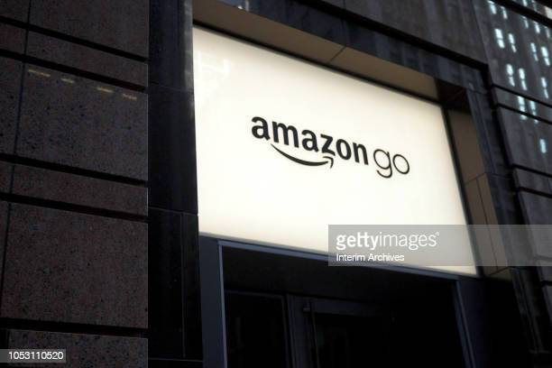 Closeup view of the sign for the Amazon Go store in Chicago Illinois October 8 2018 The store is located on 113 S Franklin Street in the Chicago Loop...