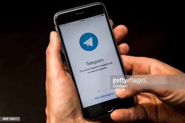 A closeup view of the Telegram messaging app is seen on a smart phone on May 25 2017 in London England Telegram an encrypted messaging app has been...