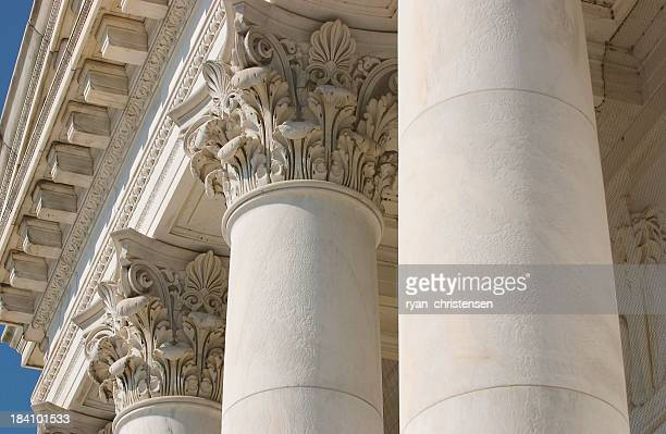 Close-up view of the top of architectural columns