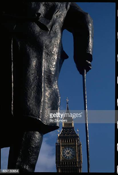 A closeup view of the Winston Churchill statue by Ivor RobertsJones in Parliament Square near the Big Ben Clock Tower | Detail of 'Winston Churchill'...