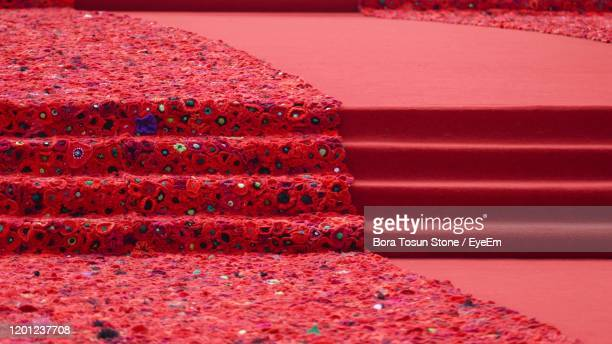 close-up view of world war i remembrance day red poppy carpet - chelsea flower show stock pictures, royalty-free photos & images