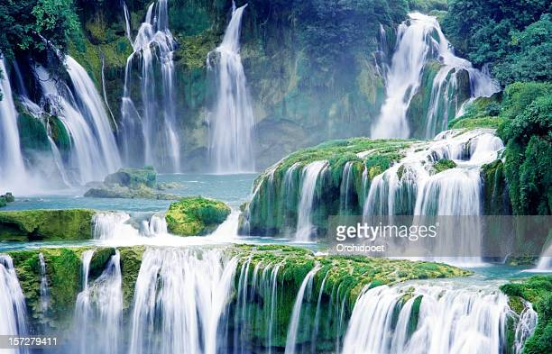 close-up waterfalls - waterfall stock photos and pictures