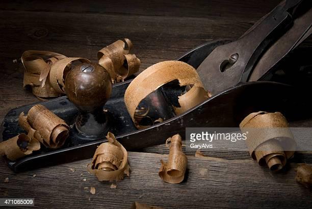 Gros plan en bois Rabot avec curl et copeaux n ° 8