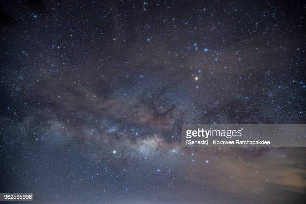 a closeup zoom shot of milky way - stars and strings stock photos and pictures
