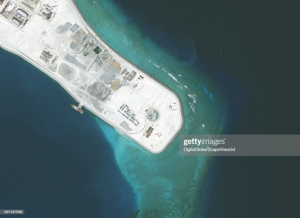 Closeup-2. DigitalGlobe imagery of the Subi Reef in the South China Sea, a part of the Spratly Islands group. Photo DigitalGlobe via Getty Images.