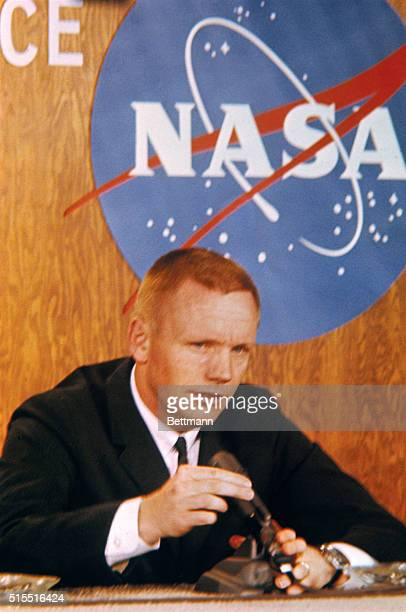 Closeups of Gemini 8 Command Pilot Neil A Armstrong at February 26 Press Conference prior to the coming March Space Mission Plans call for a walk in...