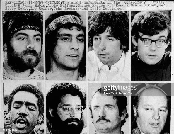Jerry Rubin Abbie Hoffman Tom Hayden Rennie Davis Bobby Seale Lee Weiner John Froines and David Dellinger circa 1968 The Chicago Seven as they were...