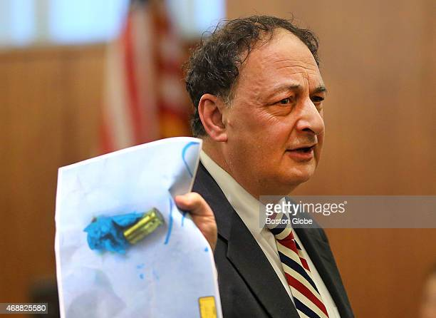 Closing arguments in the Aaron Hernandez trial for the murder of Odin Llyod at Fall River Superior Court Defense attorney James Sultan holds a photo...