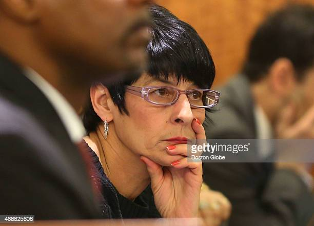 Closing arguments in the Aaron Hernandez trial for the murder of Odin Llyod at Fall River Superior Court. Hernandez's mother, Terri Hernandez listens...