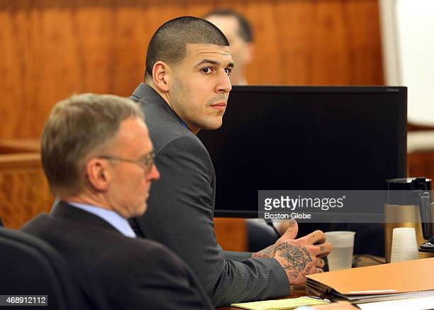 Closing arguments in the Aaron Hernandez trial for the murder of Odin Lloyd at Fall River Superior Court Hernandez looks at the jury as the judge...