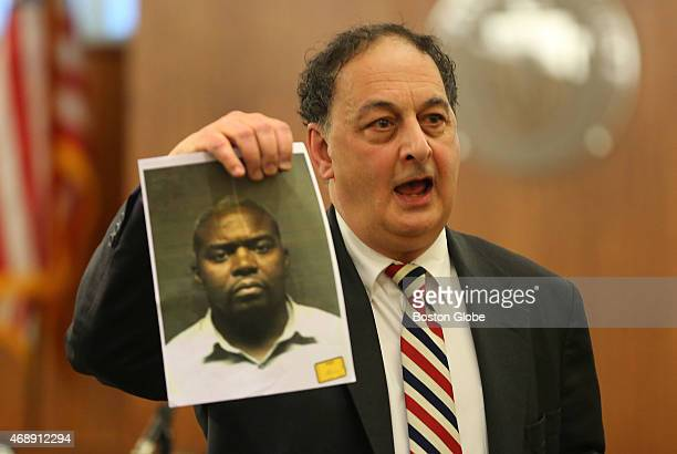 Closing arguments in the Aaron Hernandez trial for the murder of Odin Lloyd at Fall River Superior Court. Defense attorney James Sultan holds up a...