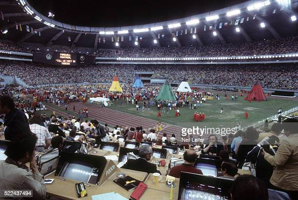 1976 Summer Olympics Overview of media athletes teepees and tents in the infield during performance at Olympic Stadium Montreal Canada 8/1/1976...
