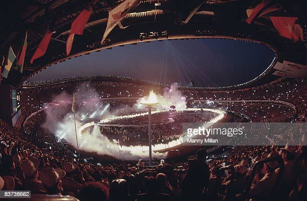 1988 Summer Olympics Overall fish eye view of fireworks Olympic Flame and cauldron at Olympic Stadium Seoul South Korea 10/2/1988 CREDIT Manny Millan