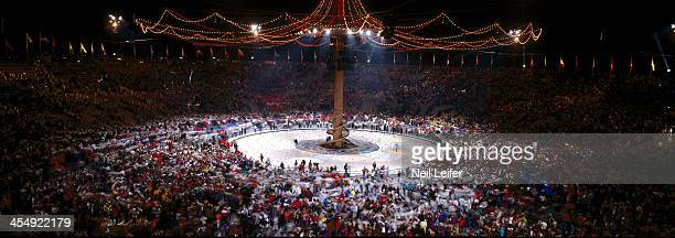 1992 Winter Olympics Overall view of ceremony at Theatre des Ceremonies Albertville France 2/23/1992 CREDIT Neil Leifer
