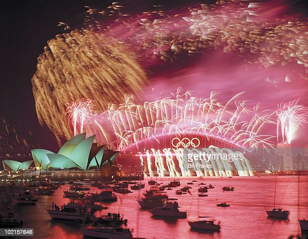 2000 Summer Olympics Scenic view of fireworks over Sydney Opera House and Harbour Bridge in Sydney Harbour Sydney Australia 10/1/2000 CREDIT Bill...