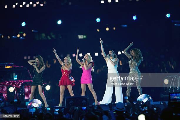 2012 Summer Olympics Celebrity singers the Spice Girls Victoria Beckham aka Posh Spice Geri Halliwell aka Ginger Spice Emma Bunton aka Baby Spice...