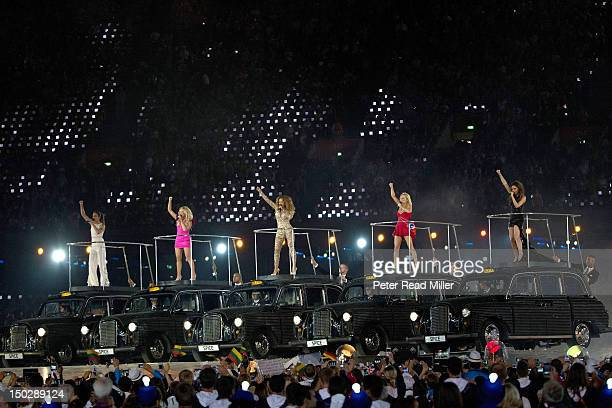 2012 Summer Olympics Celebrity singers the Spice Girls Melanie Chisholm aka Sporty Spice Emma Bunton aka Baby Spice Melanie Brown aka Scary Spice...