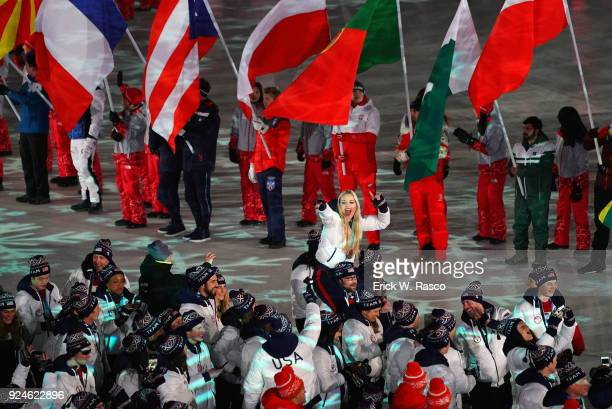 2018 Winter Olympics Team USA Lindsey Vonn victorious being carried on shoulders during parade during ceremonies at PyeongChang Olympic Stadium...