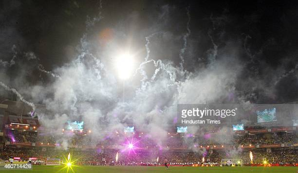 Closing ceremony of Indian Super League final football match between Mumbai City FC and Atletico De Kolkata at DY Patil Stadium on December 20 2014...