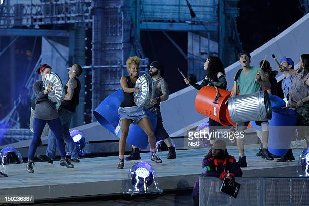 """Closing Ceremony -- Pictured: The cast of """"Stomp"""" performs in """"A Symphony of British Music"""" during the Closing Ceremony of the 2012 Summer Olympic..."""