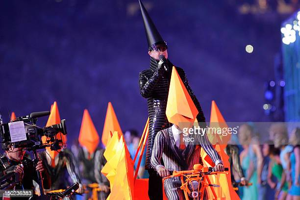 """Closing Ceremony -- Pictured: The Pet Shop Boys' Neil Tennant performing in """"A Symphony of British Music"""" during the Closing Ceremony of the 2012..."""